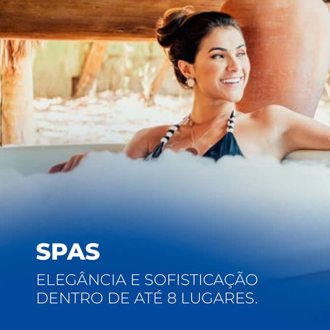 Spas - Nossos Spas serão o elemento de destaque da sua área de lazer. Podendo comportar até 8 pessoas, os Spas aliam design, elegância e conforto.
